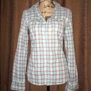 North Face plaid button up. Checkered interior